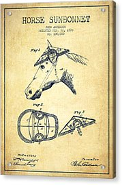 Horse Sunbonnet Patent From 1870 - Vintage Acrylic Print by Aged Pixel