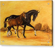 Acrylic Print featuring the painting Horse - Together 2 by Go Van Kampen