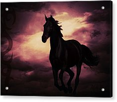 Horse With Tribal Tattoo Purple Acrylic Print by Mindy Bench