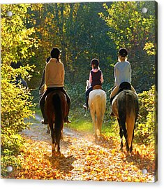 Horseback Riding In The Autumnal Forest Acrylic Print