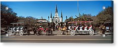 Horsedrawn Carriages On The Road Acrylic Print by Panoramic Images