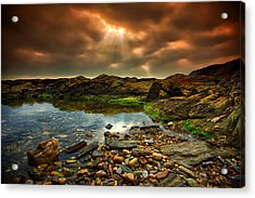 Horseley Cove Rockpool Acrylic Print by Mark Leader