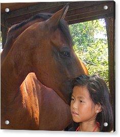 Horses And Children Acrylic Print by Rene Trebing