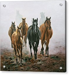 Acrylic Print featuring the painting Horses And Dust by Jason Marsh