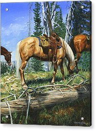 Palomino At Lunch Break Acrylic Print by Don  Langeneckert