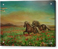 Acrylic Print featuring the painting Horses In The Field With Poppies by Sorin Apostolescu