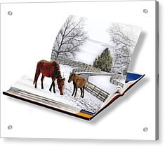 Horses In The Snow Acrylic Print by Trudy Wilkerson