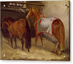 Horses In The Stables  Acrylic Print by Theodore Gericault