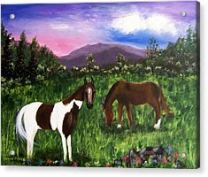 Acrylic Print featuring the painting Horses by Jamie Frier