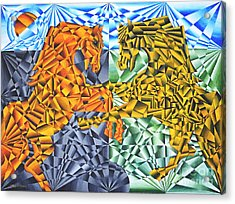 Acrylic Print featuring the painting Horses Of A Different Color by Joseph J Stevens