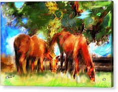 Acrylic Print featuring the painting Horses On A Kentucky Farm by Ted Azriel