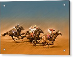Horses Racing To The Finish Line Acrylic Print