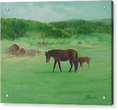 Horses Rural Pasture Western Landscape Original Oil Colorful Art Oregon Artist K. Joann Russell Acrylic Print