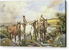 Horses Watering Acrylic Print by Henry Meynell Rheam