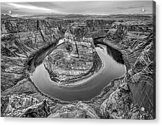 Horseshoe Bend Arizona Black And White Acrylic Print