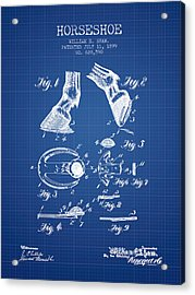 Horseshoe Patent From 1899 - Blueprint Acrylic Print by Aged Pixel