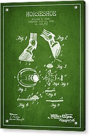 Horseshoe Patent From 1899 - Green Acrylic Print by Aged Pixel