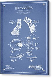 Horseshoe Patent From 1899 - Light Blue Acrylic Print by Aged Pixel