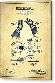 Horseshoe Patent From 1899 - Vintage Acrylic Print by Aged Pixel