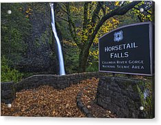 Horsetail Falls With Sign Acrylic Print by Mark Kiver