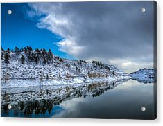 Horsetooth Reservoir Reflection Acrylic Print by Harry Strharsky