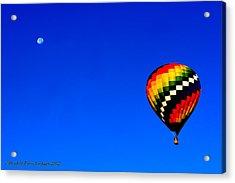 Hot Air Ballon To The Moon Acrylic Print by Rebecca Adams