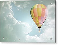 Hot Air Balloon Enchanted Clouds Acrylic Print by Andrea Hazel Ihlefeld