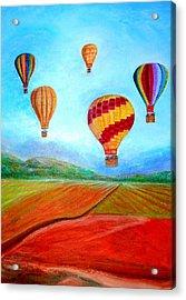 Hot Air Balloon Mural  Acrylic Print by Anais DelaVega