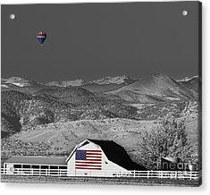 Hot Air Balloon With Usa Flag Barn God Bless The Usa Bwsc Acrylic Print by James BO  Insogna