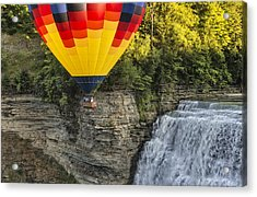 Hot Air Ballooning Over The Middle Falls At Letchworth State Par Acrylic Print