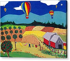 Hot Air Balloons Over Farmland Acrylic Print