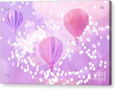 Surreal Dreamy Hot Air Balloons Lavender Purple Carnival Festival Art - Child Baby Girl Nursery Art Acrylic Print by Kathy Fornal