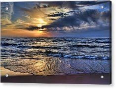 Hot April Sunset Saugatuck Michigan Acrylic Print by Evie Carrier