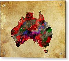 Hot Australia Map Acrylic Print by Daniel Hagerman