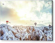 Hot Balloon In The Morning Acrylic Print by Shan.shihan