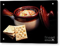 Hot Chili With Cheese And Crackers Acrylic Print by Andee Design