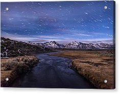 Hot Creek Star Trails Acrylic Print by Cat Connor