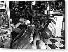 Hot Dog Man Down Mono Acrylic Print by John Rizzuto