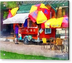 Hot Dog Stand In Mall Acrylic Print by Susan Savad