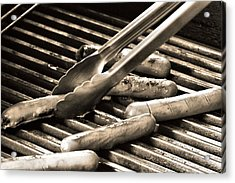 Hot Dogs On The Grill Acrylic Print by Dan Sproul