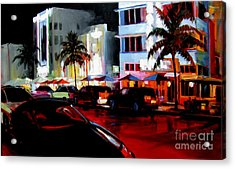 Hot Nights In South Beach - Oil Acrylic Print by Michael Swanson