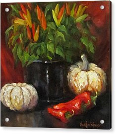 Acrylic Print featuring the painting Hot Peppers And Gourds by Cheri Wollenberg