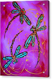 Hot Pink Dragonfly Flit Acrylic Print by Lyndsey Hatchwell