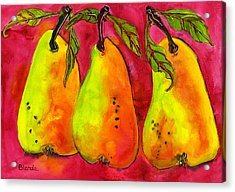 Hot Pink Three Pears Acrylic Print