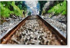 Hot Railroad Tracks Summer Day Acrylic Print by Dan Sproul