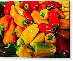 Hot Red Peppers Acrylic Print