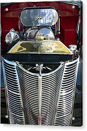 Acrylic Print featuring the photograph Hot Rod Polished Steel Engine And Grill by Jeff Lowe