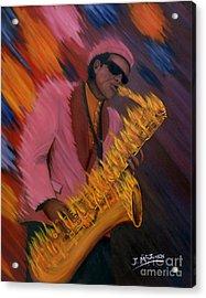 Hot Sax Acrylic Print by Jeff McJunkin