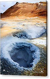Acrylic Print featuring the photograph Hot Springs At Namaskard In Iceland by Peta Thames