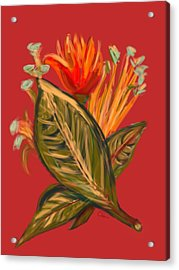 Acrylic Print featuring the digital art Hot Tulip L by Christine Fournier